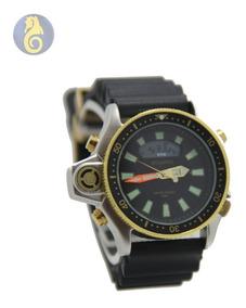Relógio Dourado Prata Masculino Original Atlantis G3220 Aqua