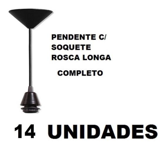 14 Fios Pendente Preto Completo Soquete E27 Luminária Lustre
