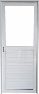 Puerta Aluminio Blanco 1/2 Vidrio Entero 4mm Puerta Pesada