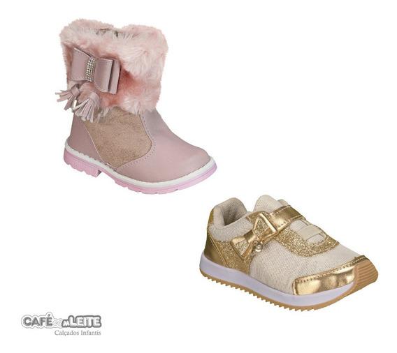 Bota Infantil Menina + Tênis Menina Kit Com 2 Pares
