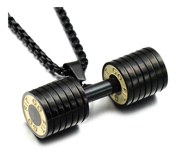 Corrente Cordão Pingente Halteres Musculação Titanium Preto