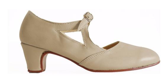 Zapatos Folklore, Español, Tango, Jazz, Danza En Cuero Crema