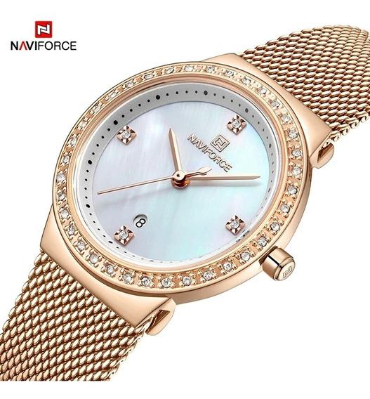 Relógio Feminino Luxo Ouro Rose De Quartzo E Aço Promoção