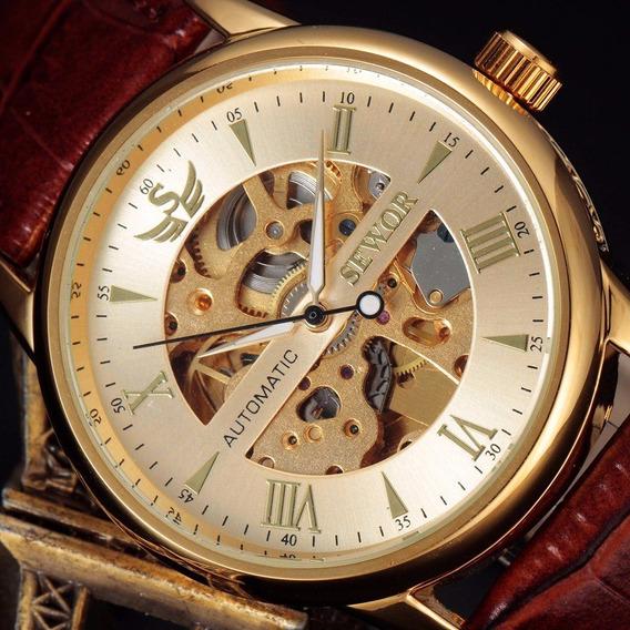 Relógio Automático Vidro Transparente Frontal E Oposto