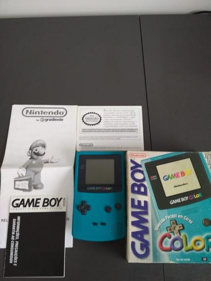 Game Boy Color Verde Com Caixa Funcionando 100% Com Manuais
