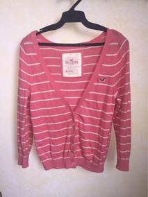 Suéter Marca Hollister Color Rosa Con Rayas Blancas De Mujer