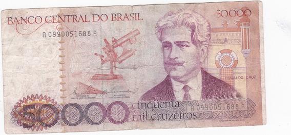 Nota Cédula Dinheiro 50 Mil 50000 Cruzeiros Sem Carimbo