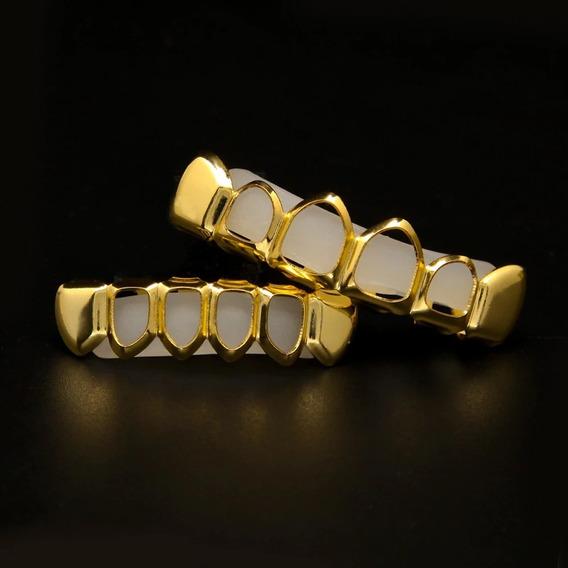 Grillz Dente Vazado Cor Ouro Conjunto 6 Dentes Hip Hop