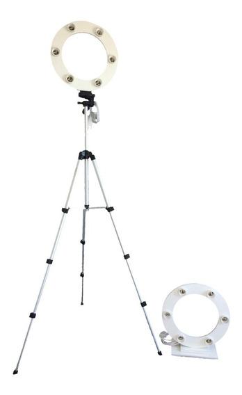 Ring Light 6 Bocais 30cm + Base + Lampadas + Sup. Celular