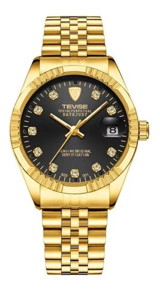 Relógio Tevise Automático Mecânico 629 Dourado