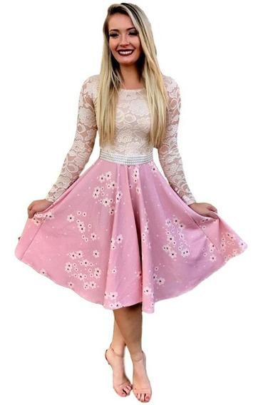 Vestido Feminino Midi Princesa Moda Evangelica R1212