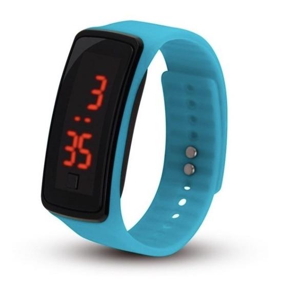 Relógio Digital Azul Feminino E Masculino Resistente A Agua