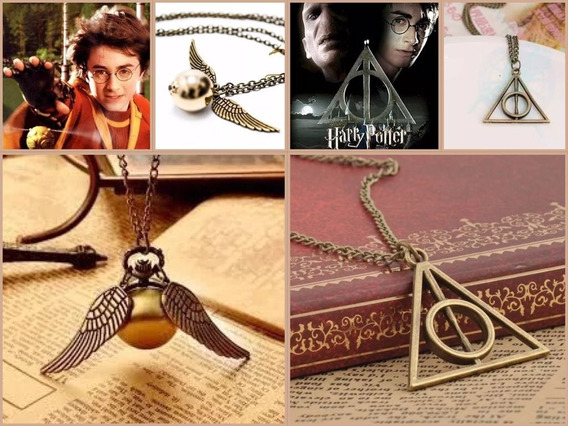 Kit Colares Harry Potter Relíquias Da Morte E Pomo De Ouro
