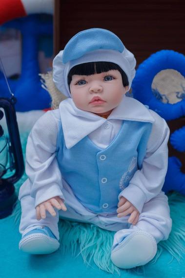 Reborn Tipo Bebê Real Enxoval Menino Azul - Promoção
