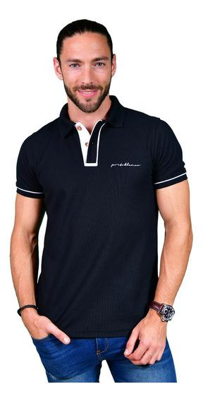 Camisa Polo Porto Blanco Algodon Hombre Negra Casual