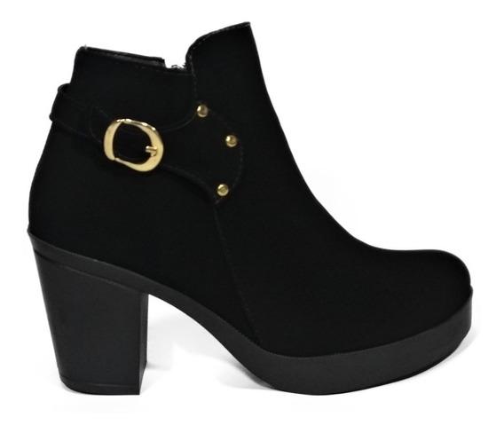 Botines Botas Zapatos Mujer Tacon 5/2 Negro Nobuck