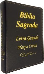 Bíblia Média Letra Grande C/ Harpa E Zíper - Capa Preta