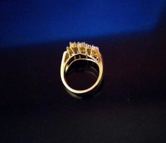 Anillo De Chapa De Oro Y Zirconias De Alto/exclusivo Diseño