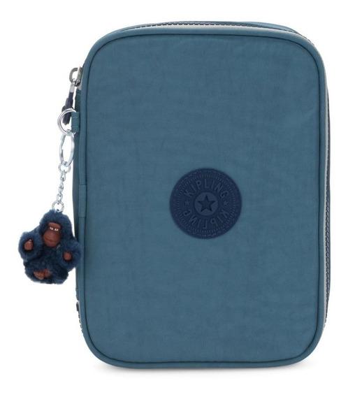 Estojo Grande Escolar Kipling 100 Pens Baltic Aqua Azul