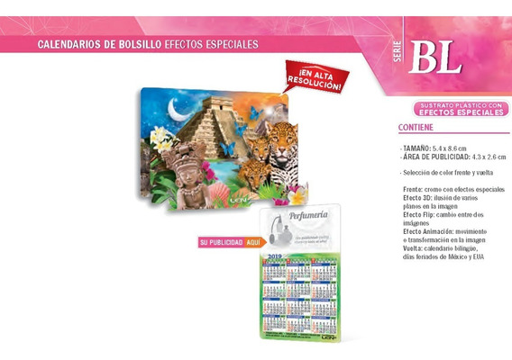 500 Calendario Promocional D Bolsillo Cn Efectos Especiales
