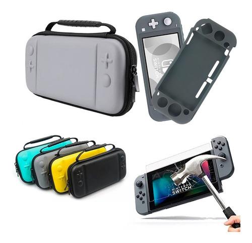 Estuche Para Nintendo Switch Lite + Mica Cristal + Bomper