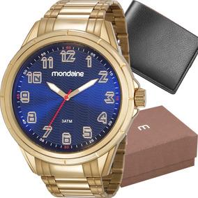 Kit Relógio Mondaine Masculino Com Carteira 83437gpmvde3k1