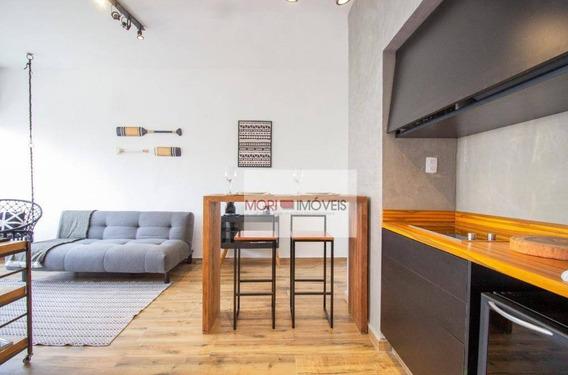 Studio Mobiliado Com 1 Dormitório À Venda, 45 M² Por R$ 450.000 - Consolação - São Paulo/sp - St0118