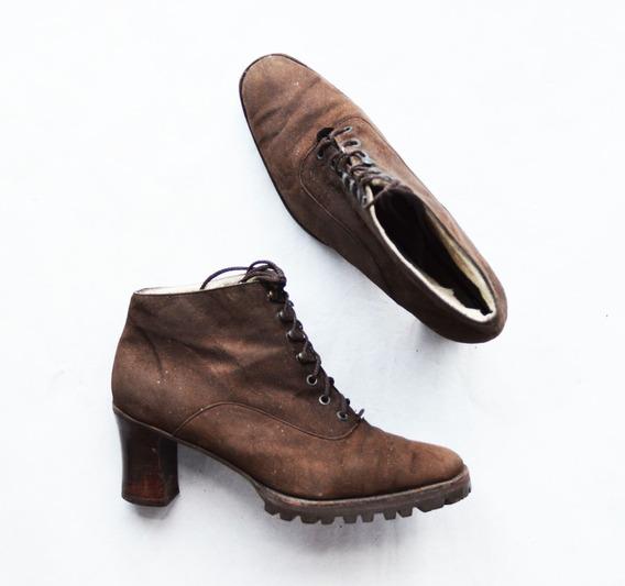 Zapatos Botitas Americam Pie Mujer Gamuza Marrones Talle 35