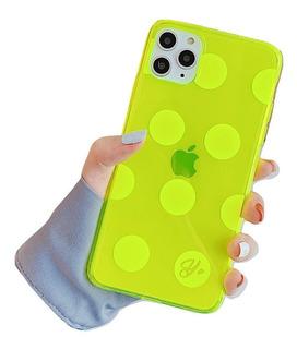Funda Neón Fosforescente Brillante Moda iPhone + Mica 9h