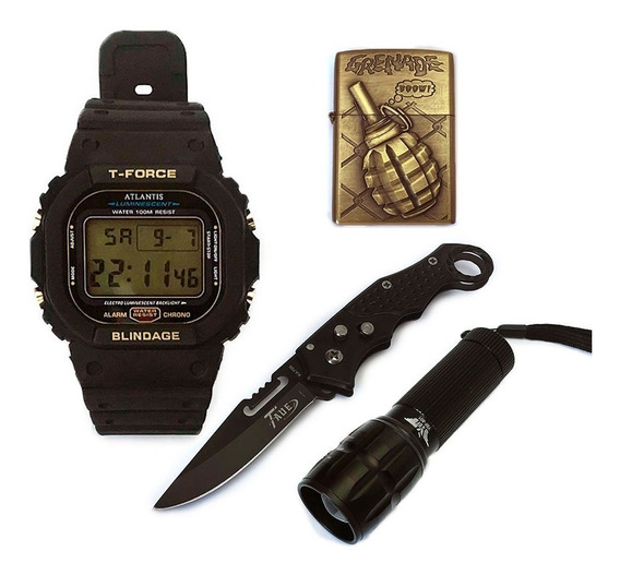 Kit Militar Relógio Canivete Lanterna E Binga