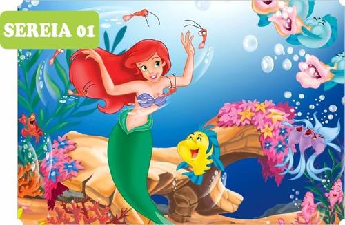 Imagem 1 de 6 de Adesivo Papel De Parede Infantil Pequena Sereia Ariel 10m²