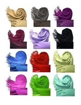 Pashmina Chalina Bufanda Lisa Con Flecos 40 Colores A Elección