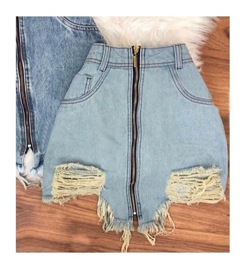 Saia Jeans Azul Zíper Frontal Curta Moda Blogueira Destroyed