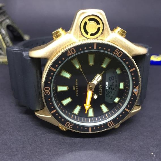 Relógio Masculino Atlantis Jp2000 Aqualand Serie Ouro+caixa