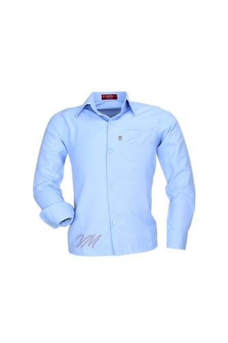Camisa Infantil Alfa 75 Longa Tecido Misto Liso Com Bolso
