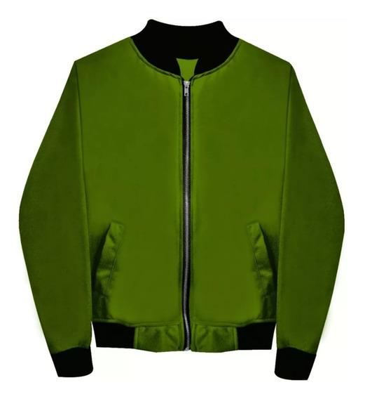 Chamarra Bomber Jacket Con Cierre Verde Olivo Envio Gratis