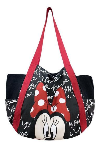 Bolsa Sacola Preta Assinatura Rosto Minnie - Disney