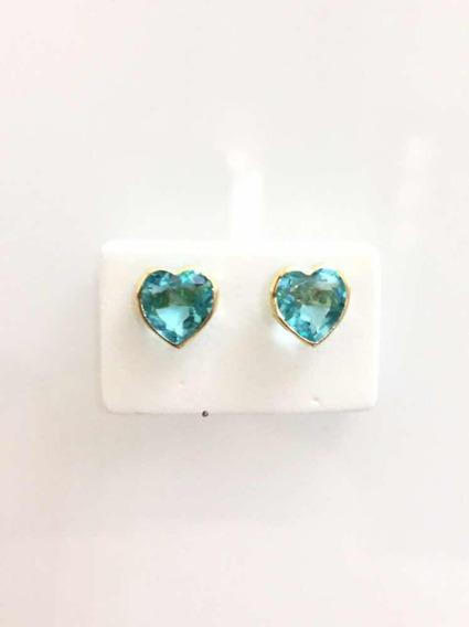 Brinco Coração 8 Milímetros Em Ouro 18k, Na Cor Topázio Azul
