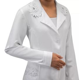 Jaleco Feminino Branco Bordado Tecido Microfibra 958