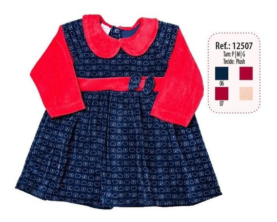 Vestido Bebe Plush Coração Detalhe Cinto Com Laço Ref 12507