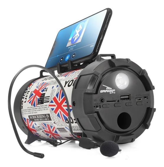 Caixa Caixinha De Som Bluetooth Microfone D-p Usb P2 Mp3 Fm