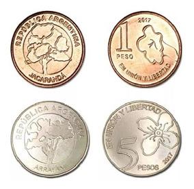 Lote 4 Monedas Nuevo Diseño 2018 $ 1 Y $ 5 Sin Circ Palermo