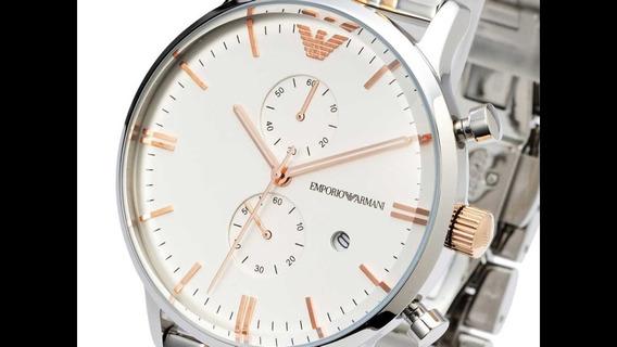 Relógio Emporio Armani Ar0399 Inox E Ouro Rose