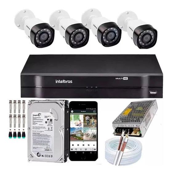 Kit 4 Câmeras Intelbras 1120b Dvr 4 Canais Lançamento - Com Hd