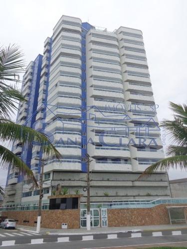 Apartamento De Frente Para O Mar, 2 Dorm. Imobiliado, Sala, Coz.  Com  Varanda Gourmet 1 Vaga !! - Sc9590