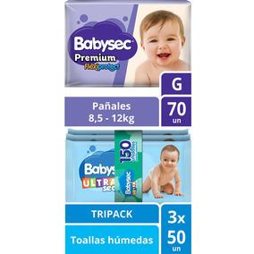 Pack Pañal Babysec Premium Talla G + Toallas Húmedas U