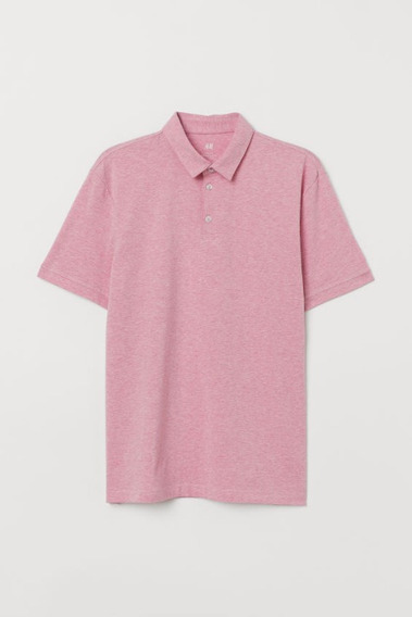 Camisa Polo Slim Fit Color Rosa Jaspeado Talla Xs