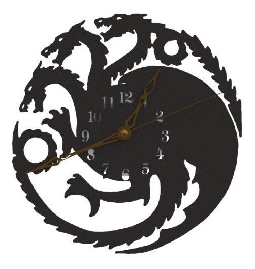 Reloj De Pared Game Of Thrones Casa Targaryen Dragon 20cm