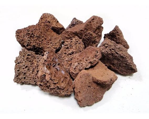 Pedra Vulcânica Marrom Para Lareira Churrasqueira Pacote 2kg