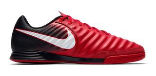 Chuteira Tênis Nike Futsal Tiempo Ligera 4 Ic Leather Ic 9605 Preto/vermelho